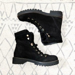 HELIO Leather Lace Up Boots Combat Moto
